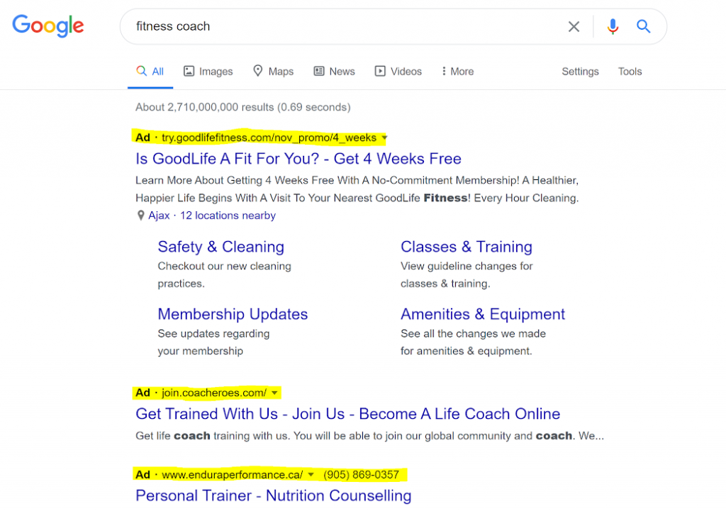 """Results for when the keyword """"fitness coach"""" is searched."""