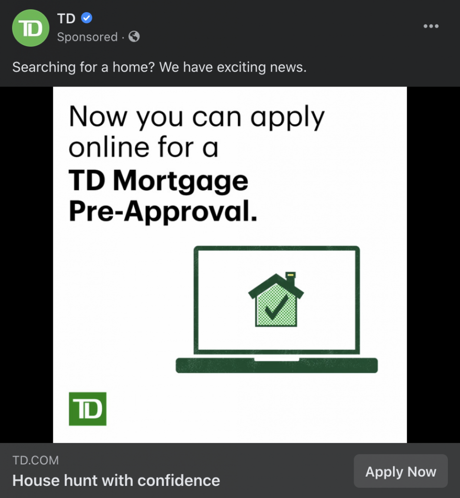 TD mortgage brokers ad example
