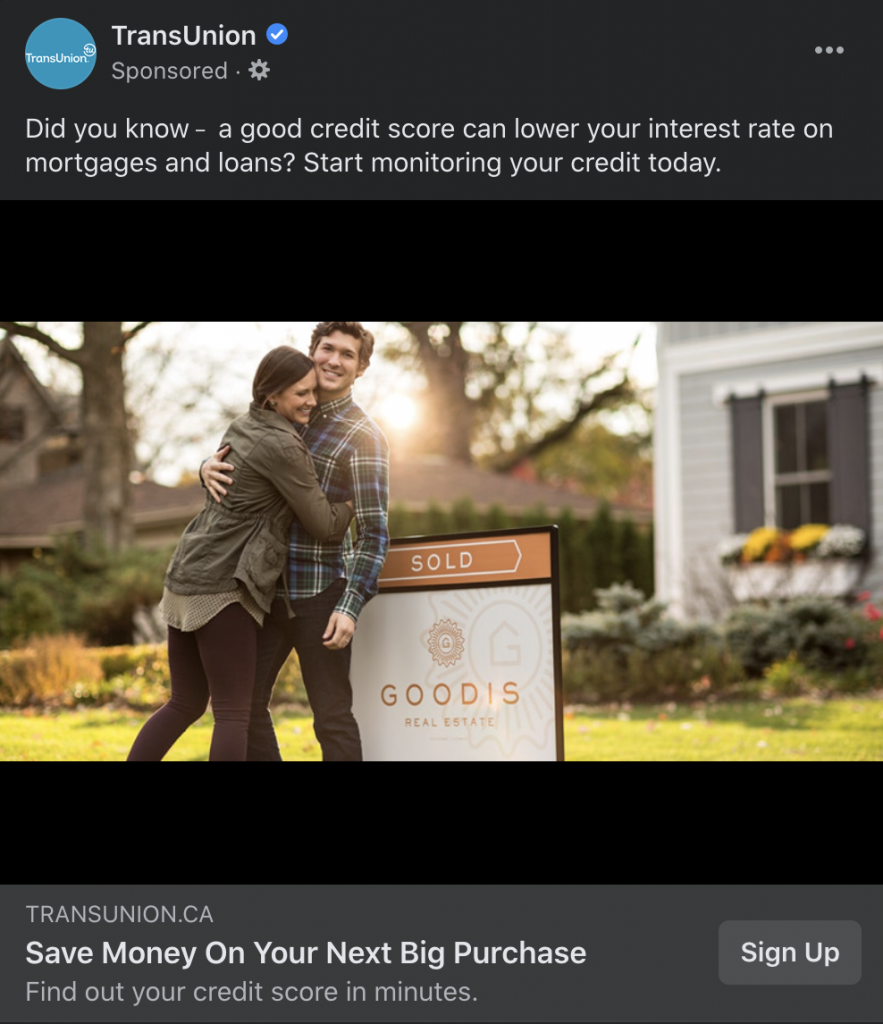 transunion ad example facebook mortgage brokers