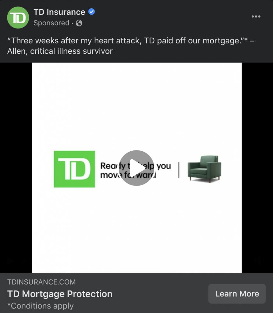 example facebook ad td mortgage broker